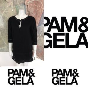 Pam & Gela Black Embroidered Dress Size Small